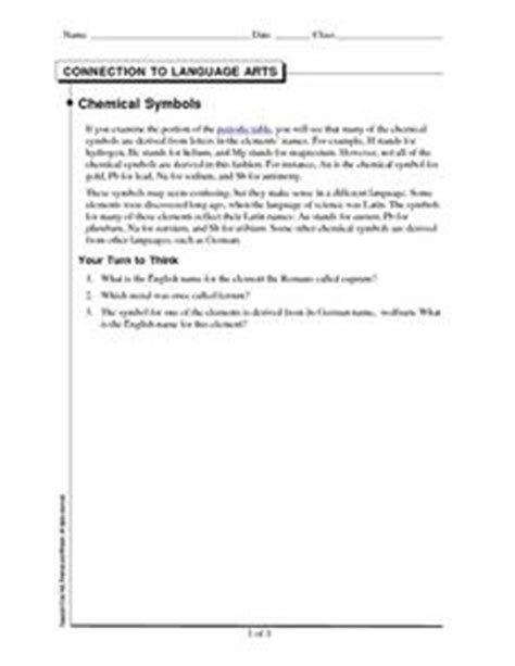 connection to language arts chemical symbols 9th 11th grade worksheet lesson planet