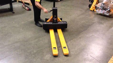 yellow jack  adjustable fork pallet truck youtube
