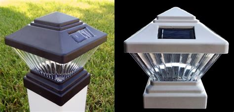 solar post cap pvc vinyl deck fence led lights 4x4 square