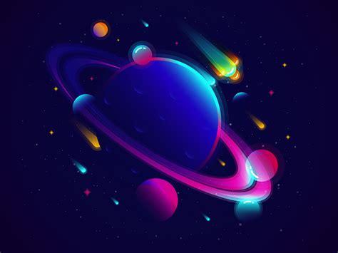 wallpaper solar system planets neon vibrant minimal