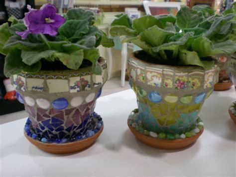 african pots violets flower mosaic
