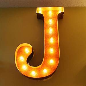 Rusty 24 inch letter j marquee light by vintage marquee lights for Letter j light