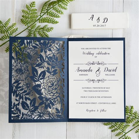 laser cut wedding invitations botanical navy blue wedding invitations laser cut swws031