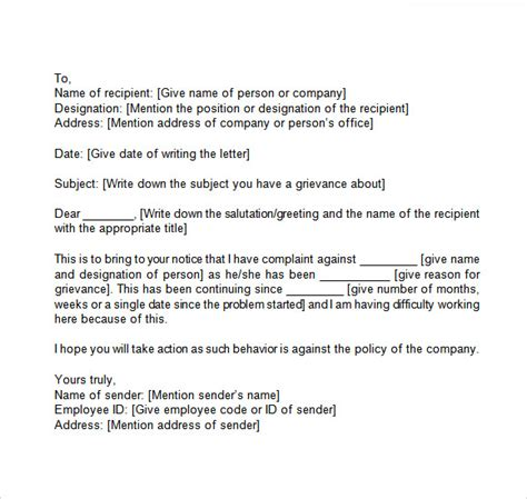 how to write a grievance letter 12 sle grievance letters pdf word sle templates