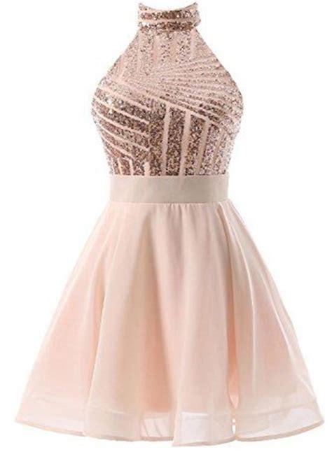 beautiful short pink sequins knee length homecoming