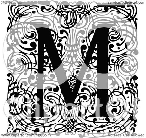 clipart   vintage black  white monogram  letter