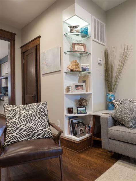 Living Room Glass Corner Shelves by Bookshelf Built In To Outside Corner Of Living Room Wall