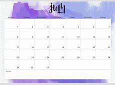 Get Free July 2019 Calendar with Holidays Calendar 2018