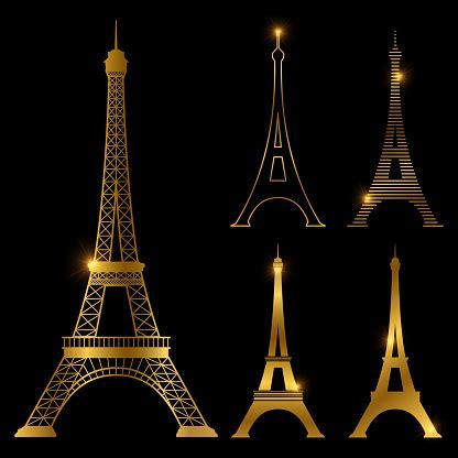 golden eiffel tower vector landmark set paris