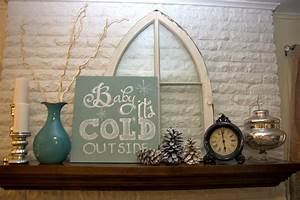 January, Winter, Mantel, Rustic, Glam, Silver, White, Aqua, With, U0026quot, Baby, It, U0026, 39, S, Cold, Outside, U0026quot, Sign