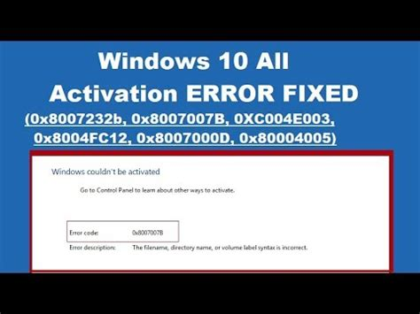 how to fix windows 10 activation error 0x8007007b or