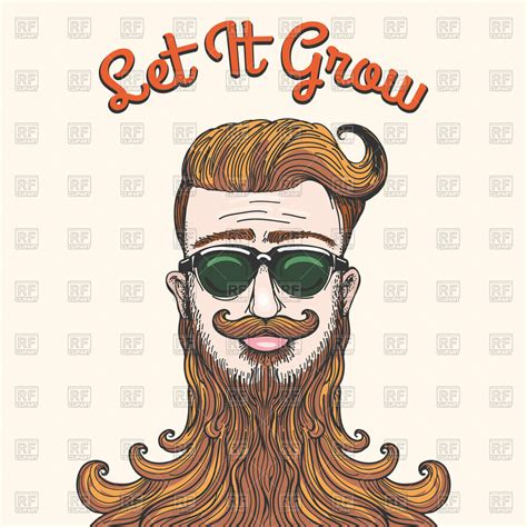 Hipster with huge beard - Let It Grow Royalty Free Vector ...