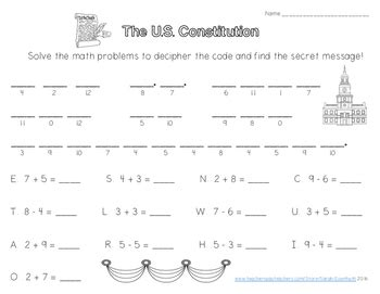 constitution secret message single digit addition and