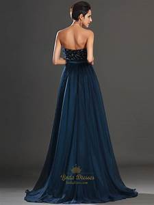 Navy Blue Strapless A Line Chiffon Prom Dress With ...
