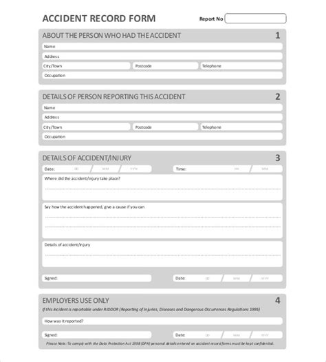 sample accident report templates word docs