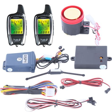 quality 2 way motorcycle alarm system with remote engine start starter microwave sensor lcd