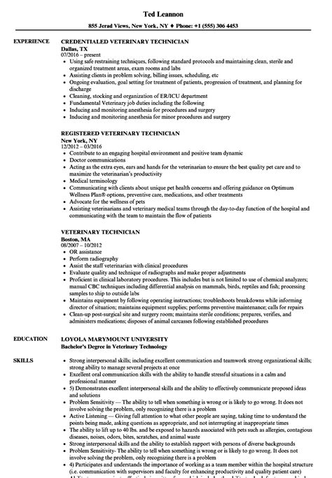Veterinary Technician Resume by Sle Vet Tech Resume Oscarsfurniture Home