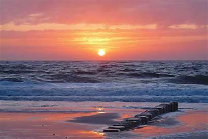 Sunset Beach Sea Ocean Landscape Backgrounds Background