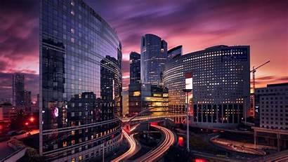 Paris Modern Sunset France Buildings Wallpapers Glass