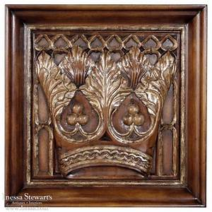 Carved Wood Regal Crown Gothic Panel - Inessa Stewart's