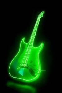 Image Gallery neon green guitar