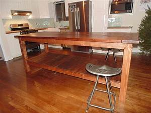 Hand Crafted Reclaimed Wood Farmhouse Kitchen Island by