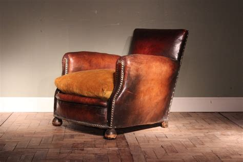 Very Comfortable 1920s French Leather Armchair