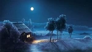 Blue Night Full Moon Scenery Wallpaper