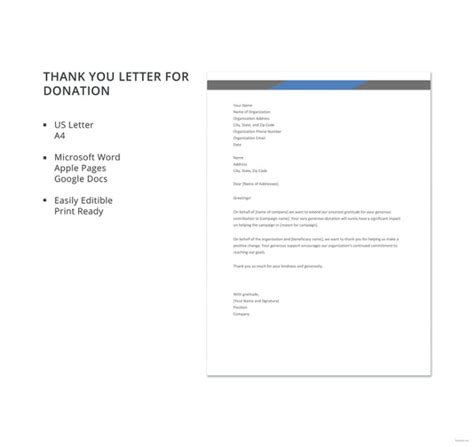 contribution letter format 10 thank you letters for donation free sample example 20947 | Free Thank You Letter for Donation Template