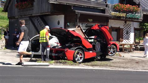 ferrari laferrari crash brutal laferrari hybrid crash at the ferrari cavalcade is