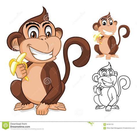 monkey holding banana character stock vector 60181116