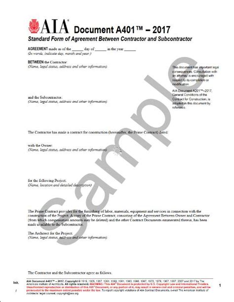 standard form  agreement  contractor
