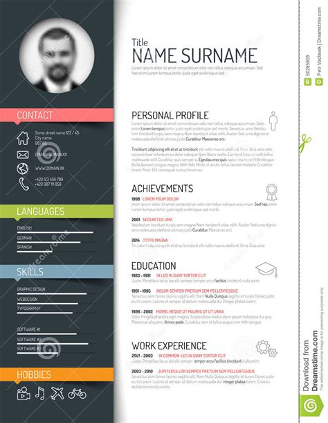Innovative Resumes For Freshers by Calibre De Cv R 233 Sum 233 Illustration De Vecteur Image Du Description 50265809