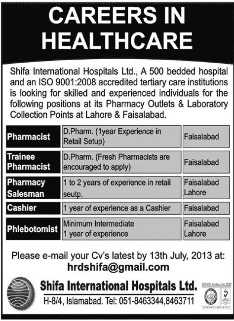 Pharmacy Vacancy by Pharmacist In Shifa Outlets Medimoon