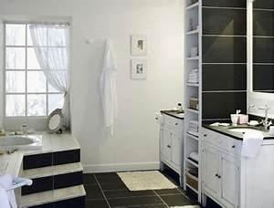 Carrelage Salle De Bain Noir Et Blanc : salle de bain carrelage noir meubles vasque blanc ~ Dallasstarsshop.com Idées de Décoration