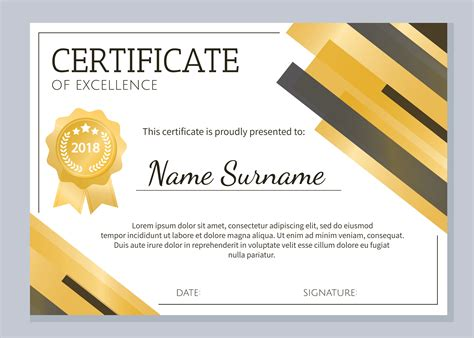 gold certificate  excellence template