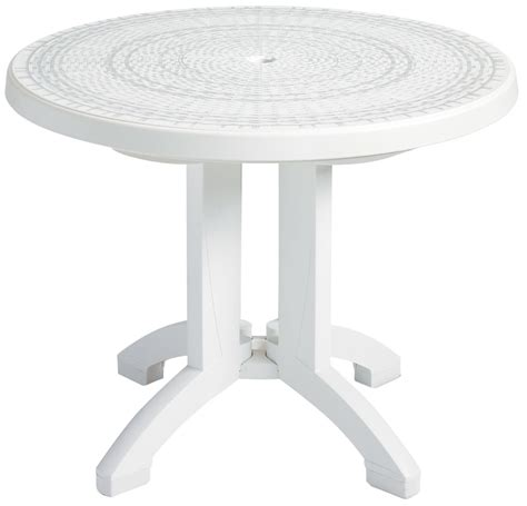 white round outdoor table white 38 quot round synthetic wicker grosfillex havana resin