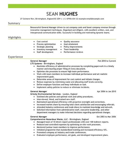 Manager Resume Template by 11 Amazing Management Resume Exles Livecareer