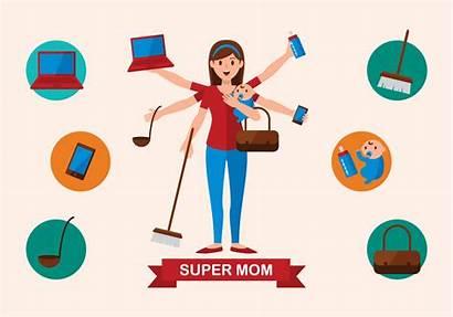 Mom Super Vector Illustration Woman Clipart Comic