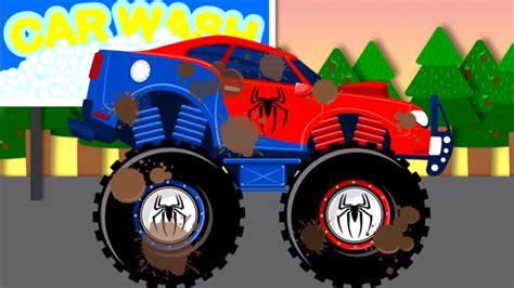 childrens monster truck videos spiderman car wash monster truck videos for children