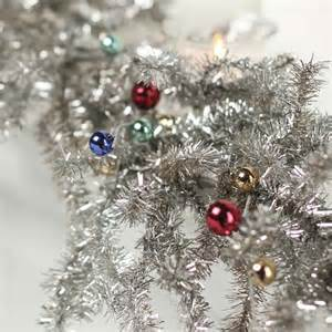 silver tinsel pine and bead ornament garland christmas garlands christmas and winter