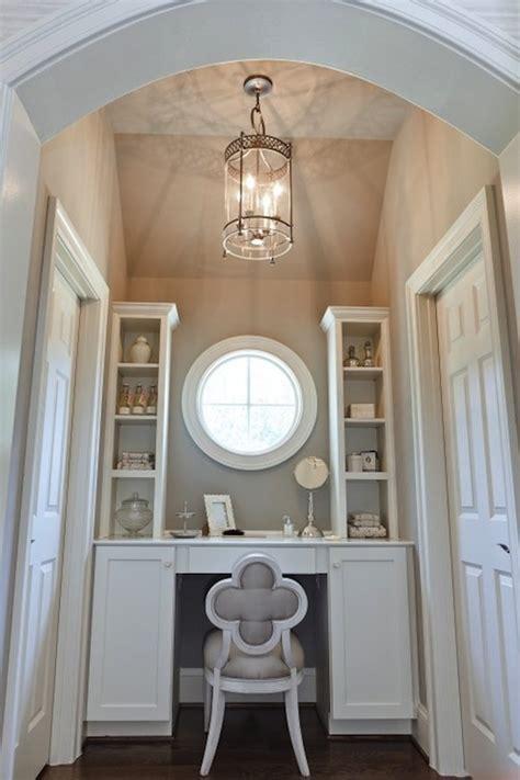 makeup vanity alcove transitional closet benjamin