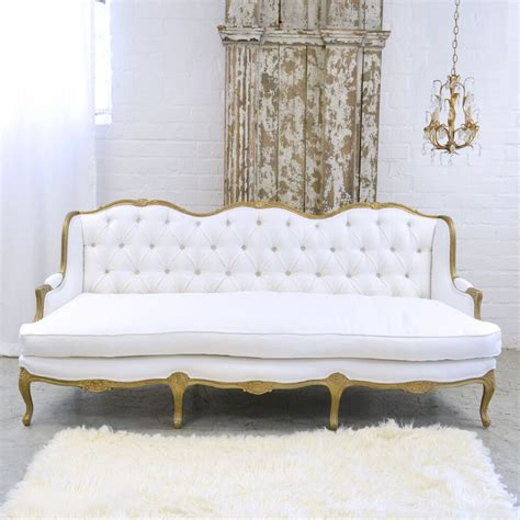 cottage settee shabby cottage chic fancy white linen settee sofa