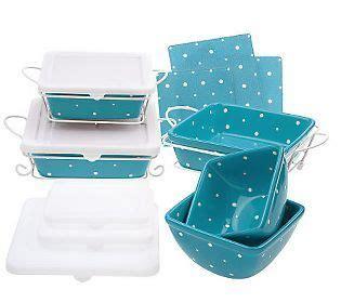 temp tations polka dot  pc square oven  table set