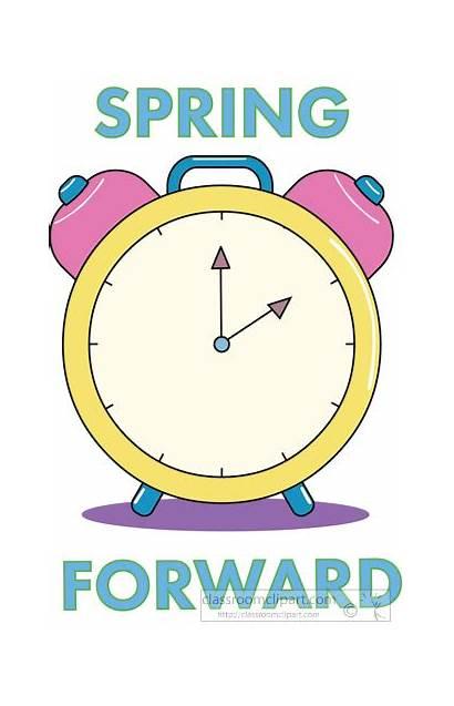Spring Forward Clipart Change Clock Savings Seasonal