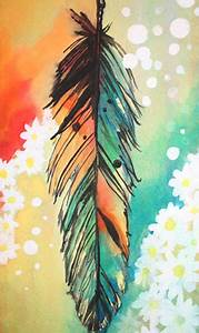 Artworks, Watercolor feather and The daisy on Pinterest
