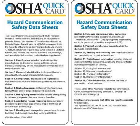 safety data sheet osha osha sds template templates data