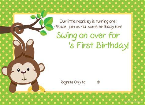 printable st monkey birthday invitation