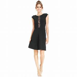 Betsey Johnson Cap Sleeve Lace Panel Dress in Black | Lyst