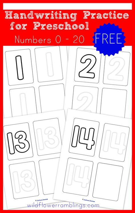 preschool handwriting practice numbers free printable 517 | numbers handwriting pages 001
